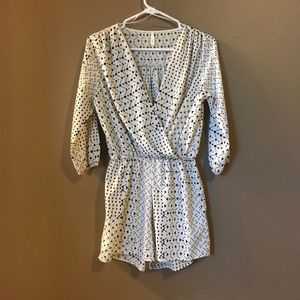 Black and white pattern romper